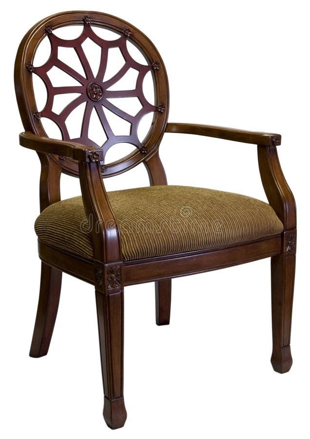 Accent Chair in Cherry Wood. Traditional Style Accent Chair in Cherry Wood Trim royalty free stock photo