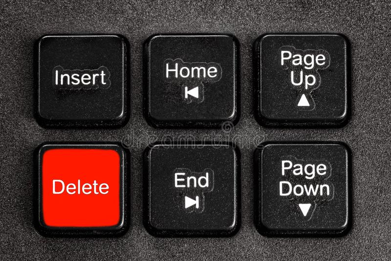 Accent delete button of keyboard. Operation action choice concept stock images