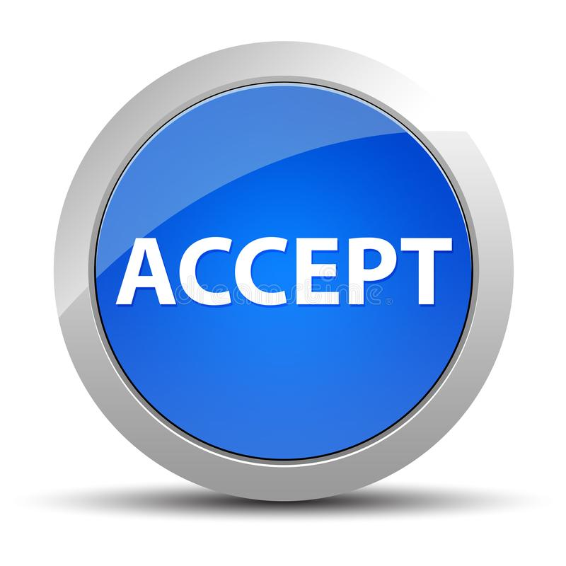 Accept blue round button vector illustration