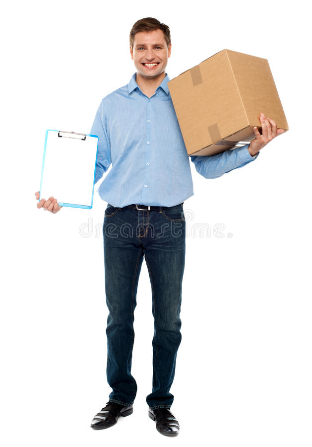Download Accept Carton Please. Courier Service Stock Image - Image: 25261871