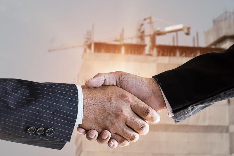 Accept construction for deal a building. stock photography