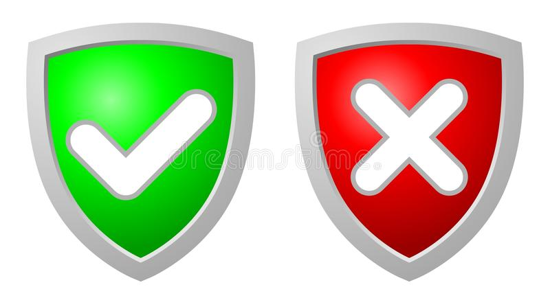 Accept and Deny security shields. Green accept and red deny security shields over white background royalty free illustration