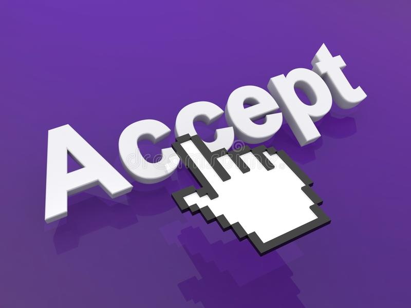 Accept graphic. 3d graphic with the word Accept on a purple background with a hand pointer or cursor hovering nearby stock illustration