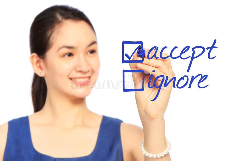 Accept or Ignore? stock image