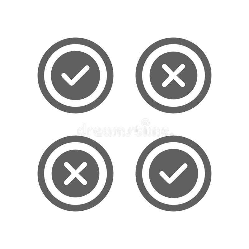 Accept Or Reject Sign Gray Icon Stock Vector ...