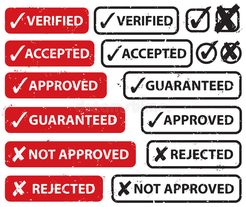 Download Accept Reject Stamp Set stock vector. Image of easy, reject - 27668157