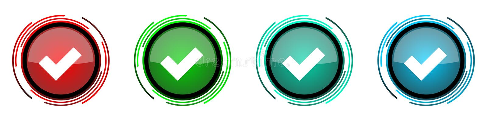 Accept round glossy vector icons, set of buttons for webdesign, internet and mobile phone applications in four colors options. Isolated on white vector illustration