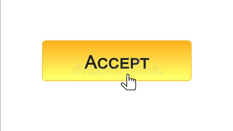 Accept web interface button clicked with mouse cursor, orange color design royalty free illustration