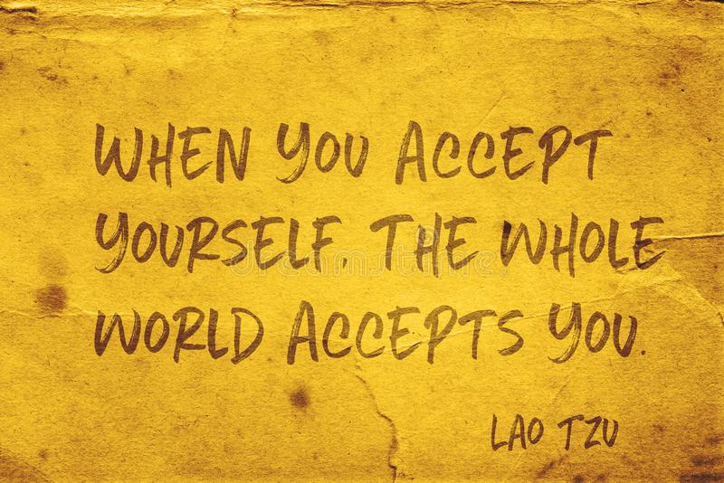 Accept yourself Lao Tzu. When you accept yourself, the whole world accepts you - ancient Chinese philosopher Lao Tzu quote printed on grunge yellow paper vector illustration