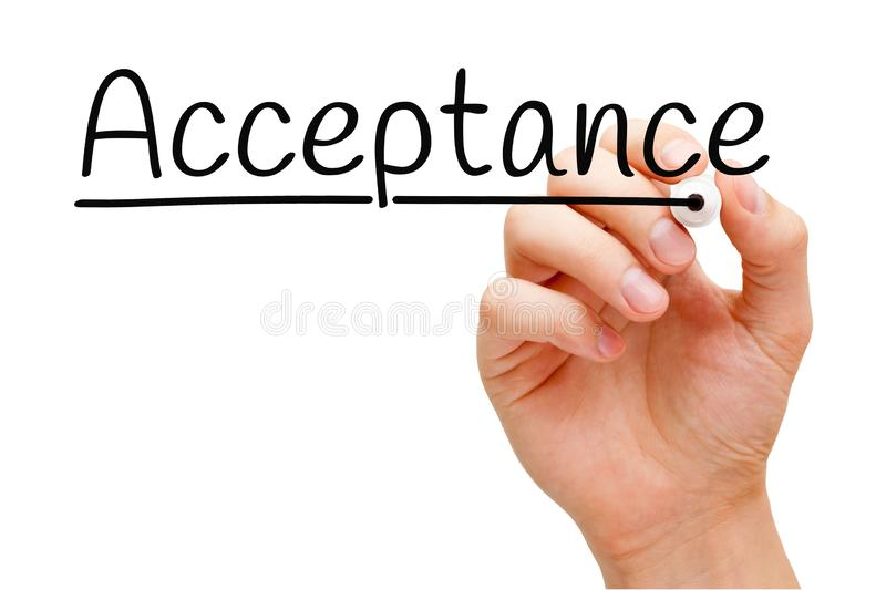 Acceptance Handwritten With Black Marker. Hand writing Acceptance with black marker on transparent wipe board isolated on white royalty free stock image