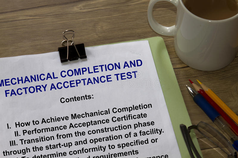 Acceptance Test. And completion test - many uses in the oil and gas industry royalty free stock images