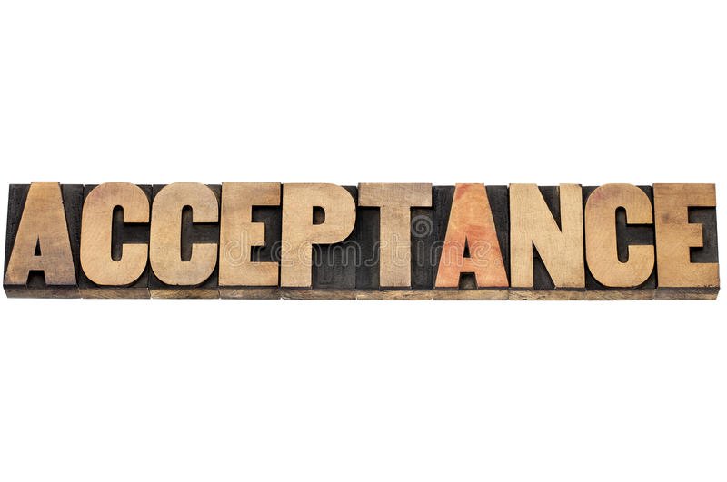 Acceptance word in wood type stock image