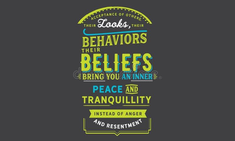 Acceptation d'autres, leurs regards, leurs comportements, leurs croyances illustration stock