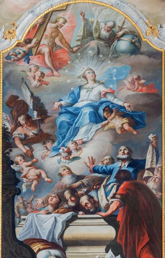 Acceptation de peinture de Vierge Marie d'autel de chapelle dans le palais d'Anton de saint par Anton Schmidt des années 1750 - 1 image libre de droits
