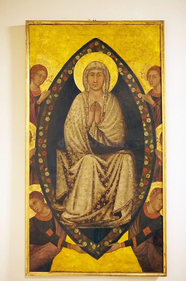 Acceptation de Vierge Marie, peinture de panneau, Sienne, Italie photo libre de droits