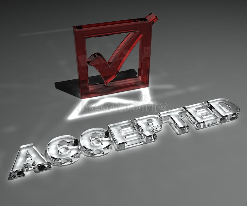 Accepted. 3d generated business concept on grey background royalty free illustration