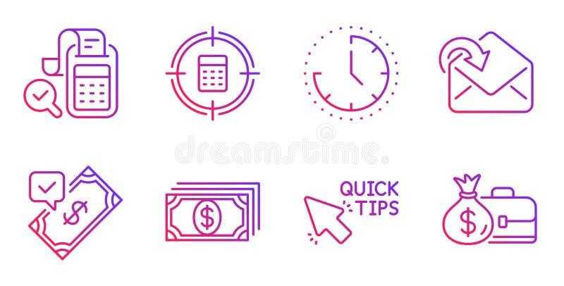 Accepterad betalning, snabba spetsar och att motta postsymbolsuppsättningen Tid, räknemaskinmål och betalningtecken vektor royaltyfri illustrationer
