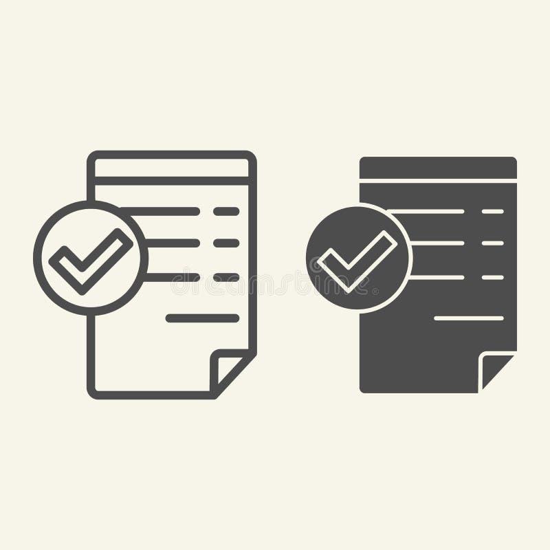 Accepterad dokumentlinje och skårasymbol Giltig dokumentvektorillustration som isoleras på vit Lista med fästingöversikten vektor illustrationer