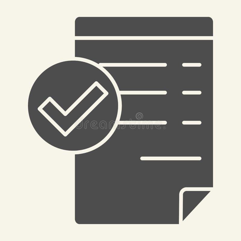 Accepterad fast symbol för dokument Giltig dokumentvektorillustration som isoleras på vit Lista med design för fästingskårastil royaltyfri illustrationer