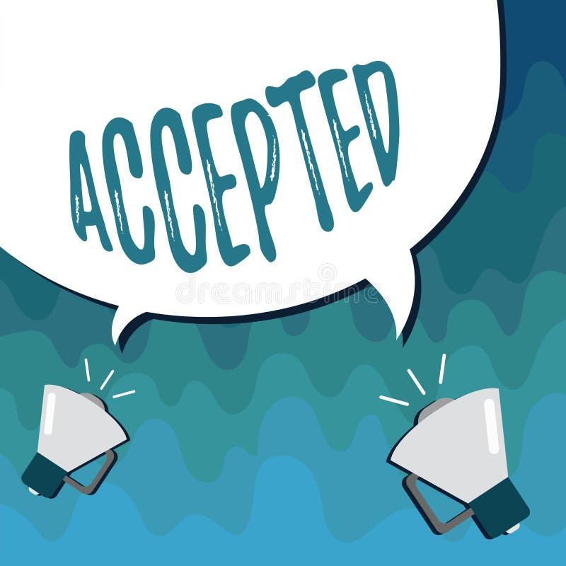 Accepterad handskrifttext Begreppsbetydelsen instämmer för att göra eller ge något godkännandetillåtelsebekräftelse stock illustrationer
