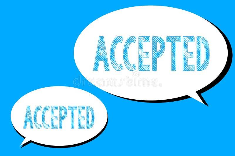 Accepterad ordhandstiltext Affärsidé för att Agree ska göra eller som ger något godkännandetillåtelsebekräftelse vektor illustrationer