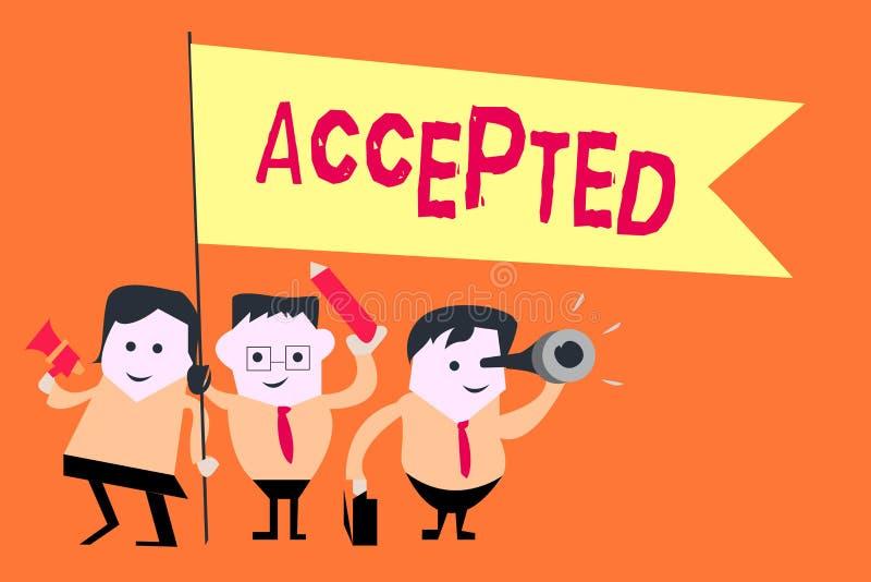 Accepterad ordhandstiltext Affärsidé för att Agree ska göra eller som ger något godkännandetillåtelsebekräftelse royaltyfri illustrationer