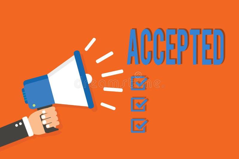 Accepterad ordhandstiltext Affärsidé för att Agree ska göra eller som ger något mannen för godkännandetillåtelsebekräftelse royaltyfri illustrationer