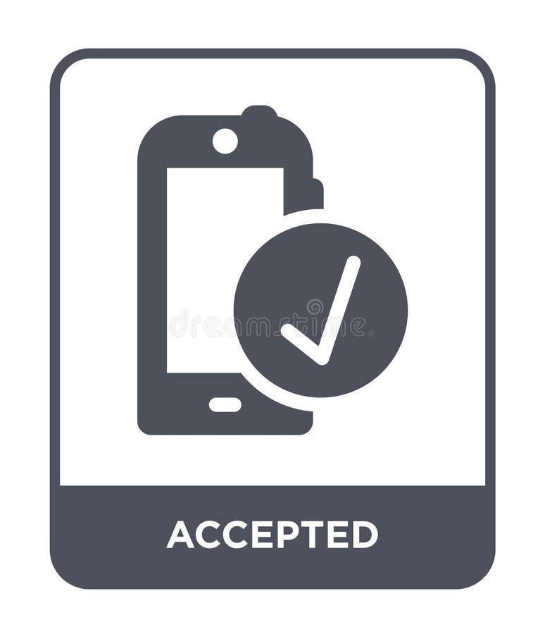 accepterad symbol i moderiktig designstil accepterad symbol som isoleras på vit bakgrund enkel och modern lägenhet för accepterad royaltyfri illustrationer