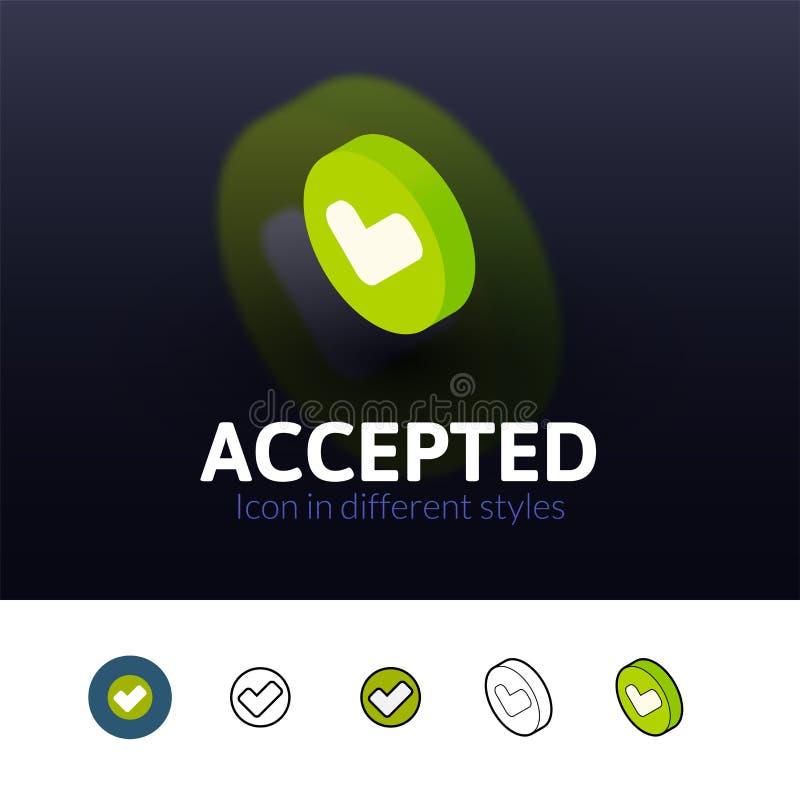 Accepterad symbol i olik stil stock illustrationer
