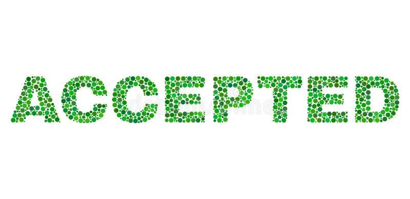 ACCEPTERAD text i Dot Style vektor illustrationer