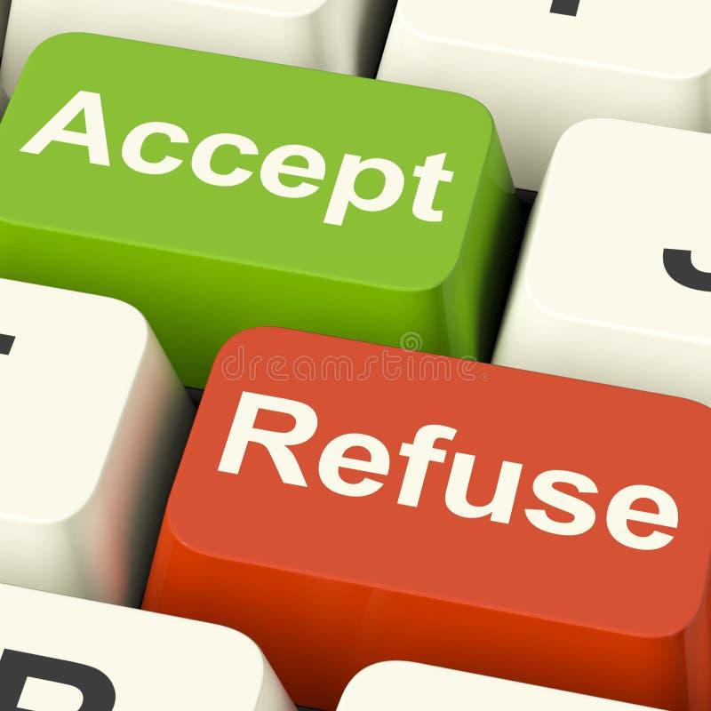 Acceptez et refusez les clés montrant l'acceptation ou le démenti images stock