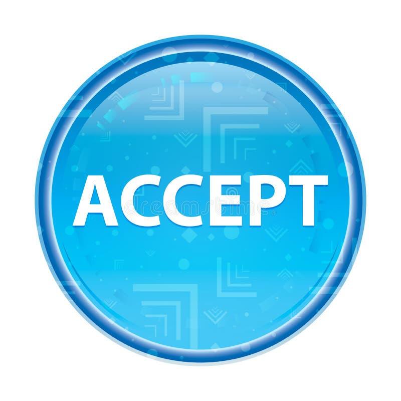 Acceptez le bouton rond bleu floral illustration de vecteur
