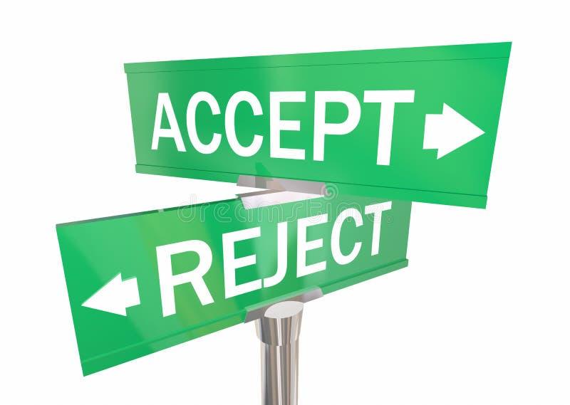 Acceptez ou les panneaux routiers bi-directionnels de rejet approuvent contre nient 3d Illustrat illustration de vecteur