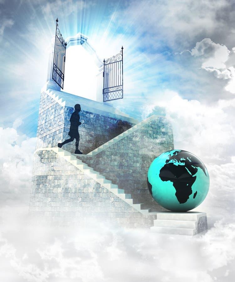 Acceso africano del mundo en el top con la entrada y la escalera de la puerta stock de ilustración