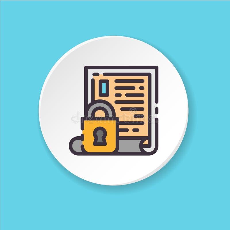 Acceso bloqueado del icono plano del vector Información onfidential del ¡de Ð ilustración del vector