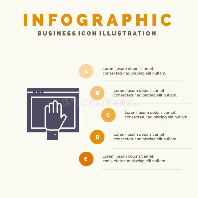 Acceso, contenido, libre, Internet, fondo sólido abierto de la presentación de los pasos de Infographics 5 del icono stock de ilustración