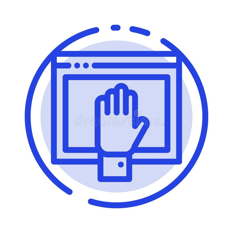 Acceso, contenido, libre, Internet, línea de puntos azul abierta línea icono stock de ilustración