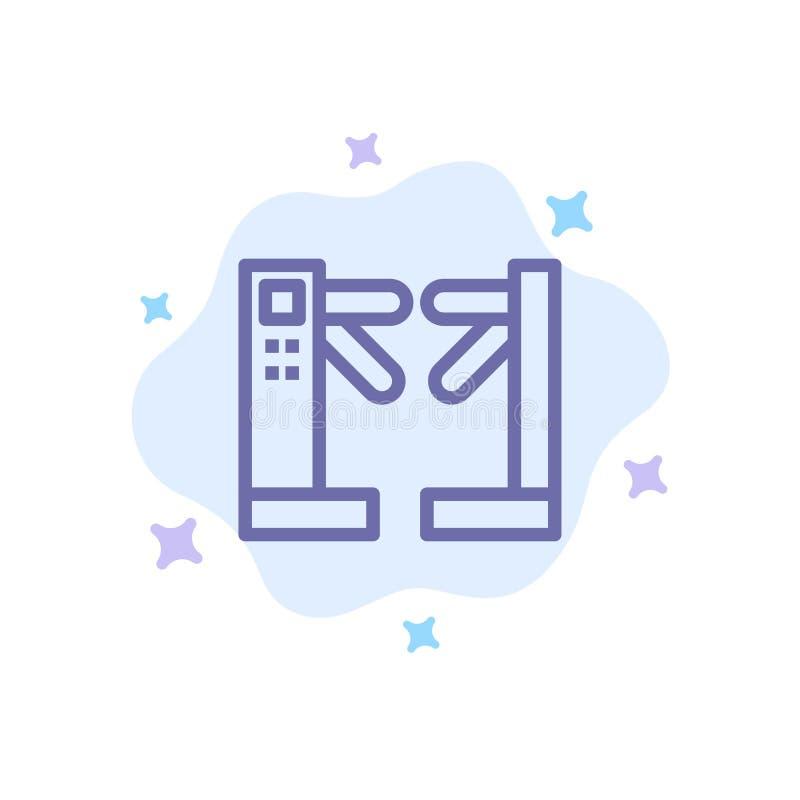 Acceso, control, torniquetes, icono azul subterráneo en fondo abstracto de la nube libre illustration