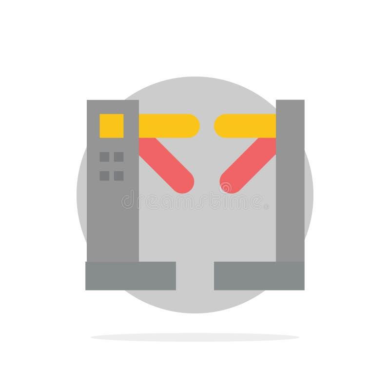 Acceso, control, torniquetes, icono plano del color de fondo abstracto subterráneo del círculo ilustración del vector