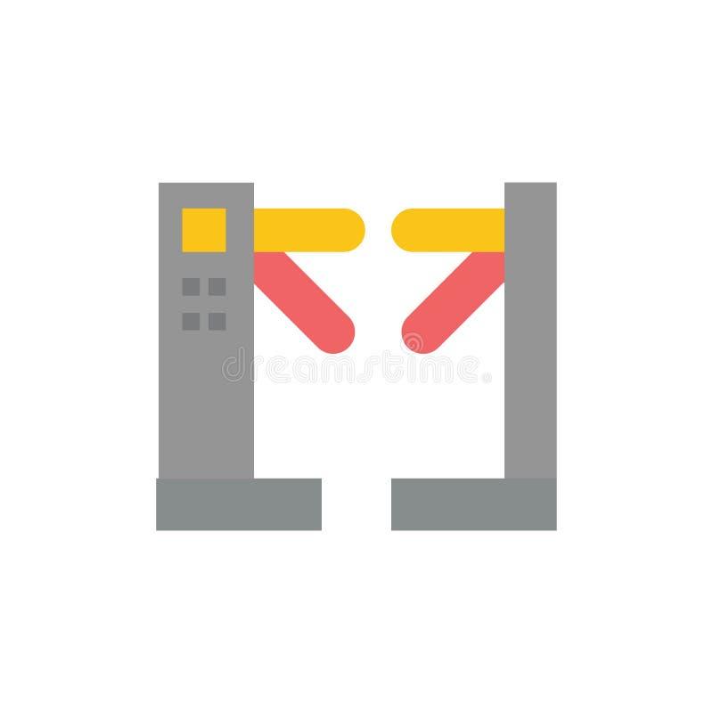 Acceso, control, torniquetes, icono plano subterráneo del color Plantilla de la bandera del icono del vector stock de ilustración