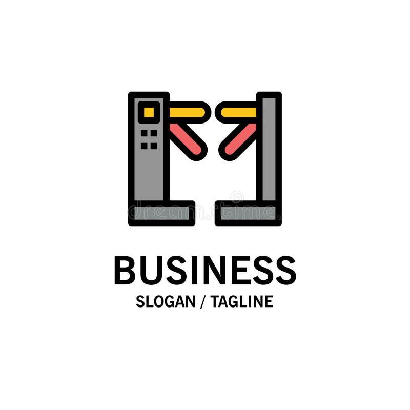 Acceso, control, torniquetes, negocio subterráneo Logo Template color plano ilustración del vector
