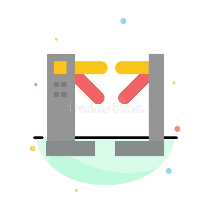 Acceso, control, torniquetes, plantilla plana abstracta subterráneo del icono del color ilustración del vector