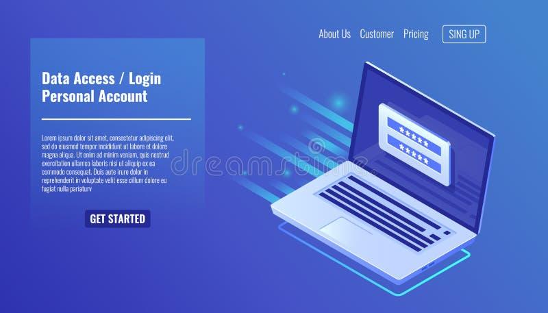 Acceso a datos, formulario de inicio de sesión en el ordenador portátil de la pantalla, cuenta personal, proceso de la autorizaci ilustración del vector