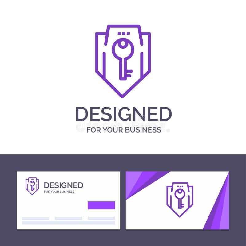 Acceso de visita de la plantilla creativa de la tarjeta y del logotipo, llave, protección, seguridad, ejemplo del vector del escu stock de ilustración