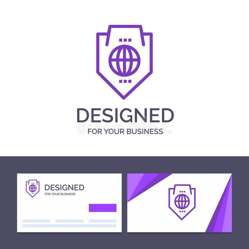 Acceso de visita de la plantilla creativa de la tarjeta y del logotipo, mundo, protección, globo, ejemplo del vector del escudo ilustración del vector