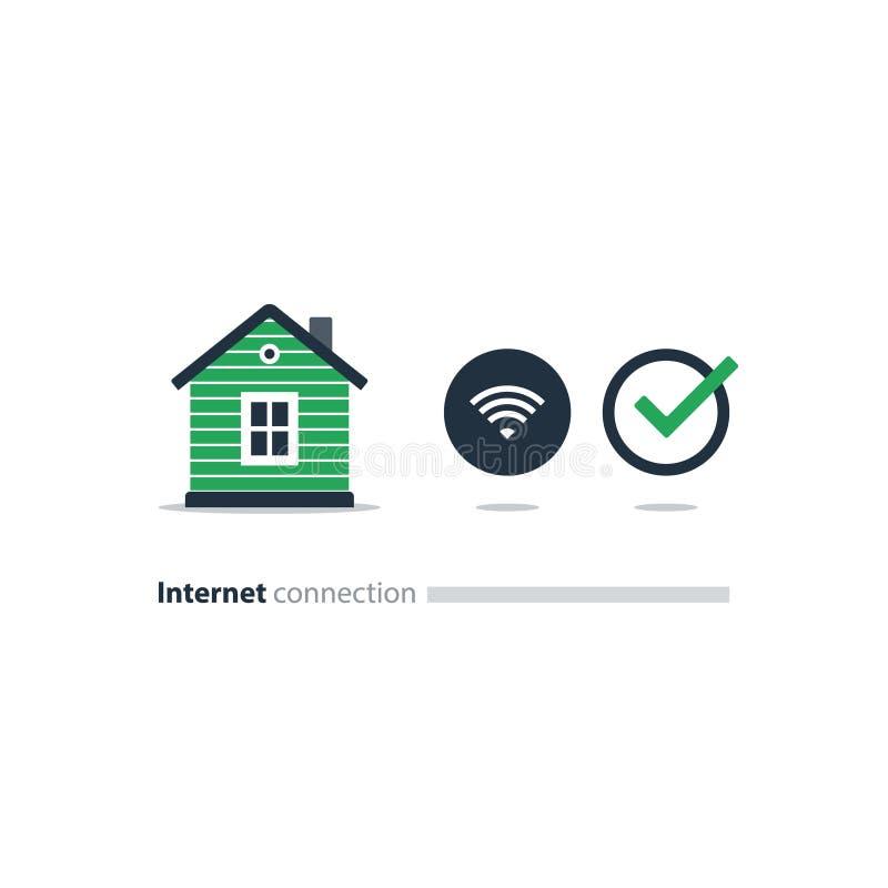 Acceso a internet en casa, icono de Wi-Fi, concepto elegante de la solución ilustración del vector