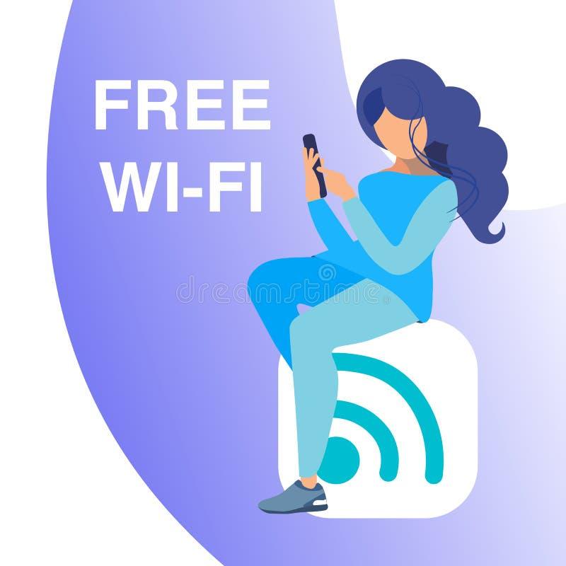 Acceso libre de los Wi fi, concepto de la bandera del vector de la zona activa libre illustration