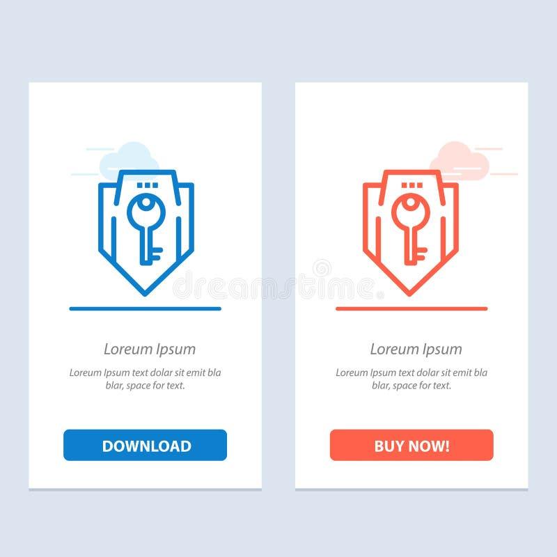 Acceso, llave, protección, seguridad, azul del escudo y transferencia directa roja y ahora comprar la plantilla de la tarjeta del ilustración del vector