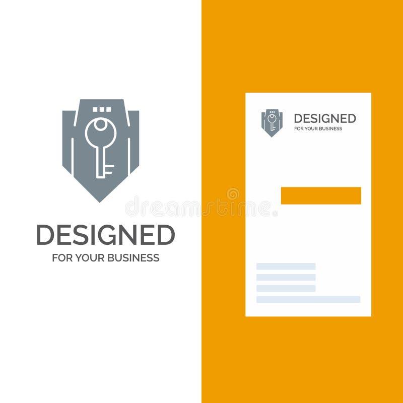Acceso, llave, protección, seguridad, escudo Grey Logo Design y plantilla de la tarjeta de visita libre illustration