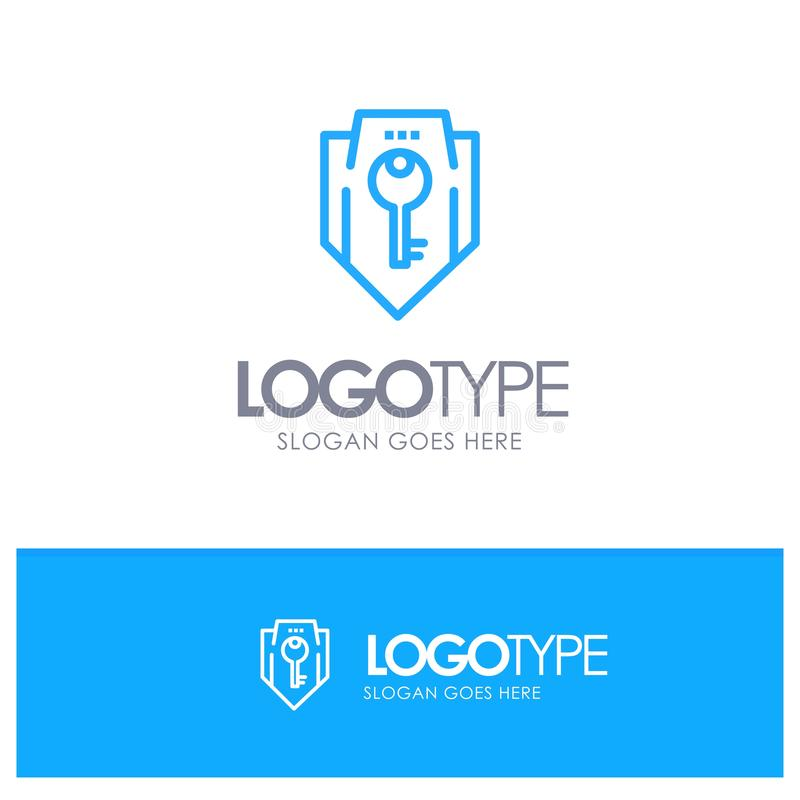 Acceso, llave, protección, seguridad, esquema azul Logo Place del escudo para el Tagline ilustración del vector
